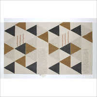 Bharat Exim International White Base with Multi Colour Geometric Rug, Size 46 Feet