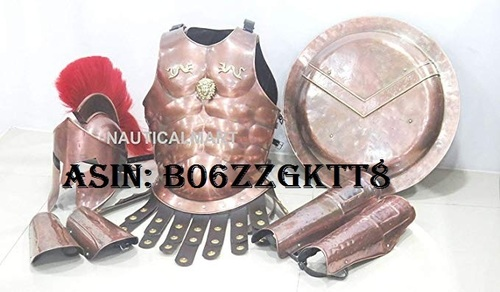 NauticalMart Medieval Spartan Copper 300 Helmet W/Red Plume Muscle Armor