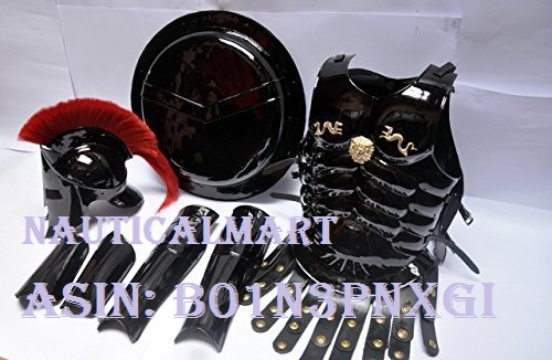 Medieval Roman King Leonidas Spartan 300 Movie Helmet W/ Red Plume +Muscle Jacket+Shield + Leg + Arm Guards 300 Greek Spartan King Leonidas Gear Of War Armor Shield Leonidas Helmet By Nauticalmart