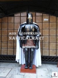 NAUTICALMART Dark Black Medieval Full Suit of Crusader Armor Reenactment Costume