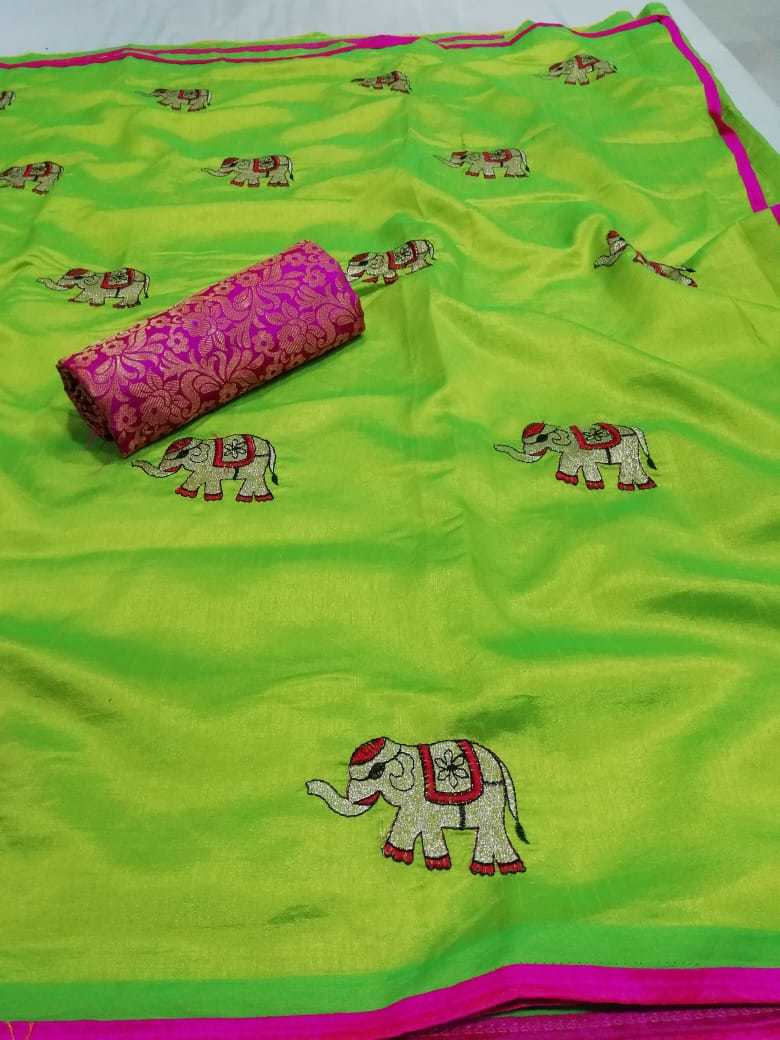 New Embroidery elephant silk sarees