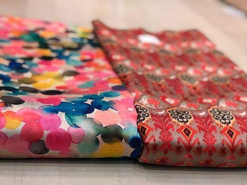 Aasam silk digital printed fabric