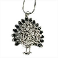 Oxidized Metal Peacock Pendant
