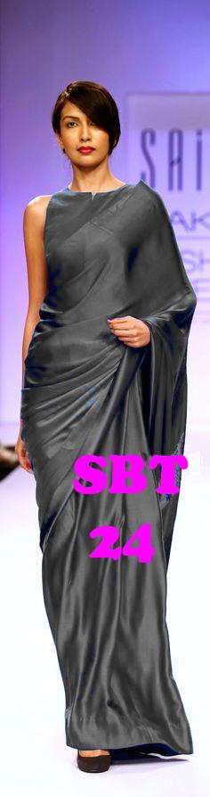 Women Plain Satin Saree