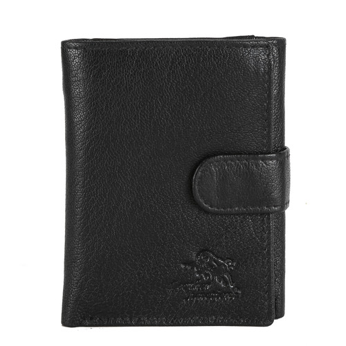 Mens Black Leather Tri-Fold Wallet
