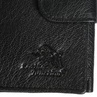 Black Leather Tri-Fold Wallet For Men