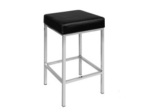 Set of 2 PU Leather Square Kitchen Bar Stool Black