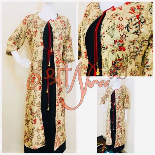 Printed Jacket With Rayon Ankle Length Inner Kurti