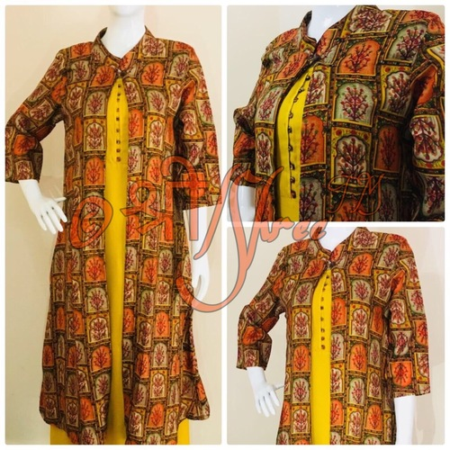 Printed Coat With Yellow Rayon Ankle Length Inner Kurti