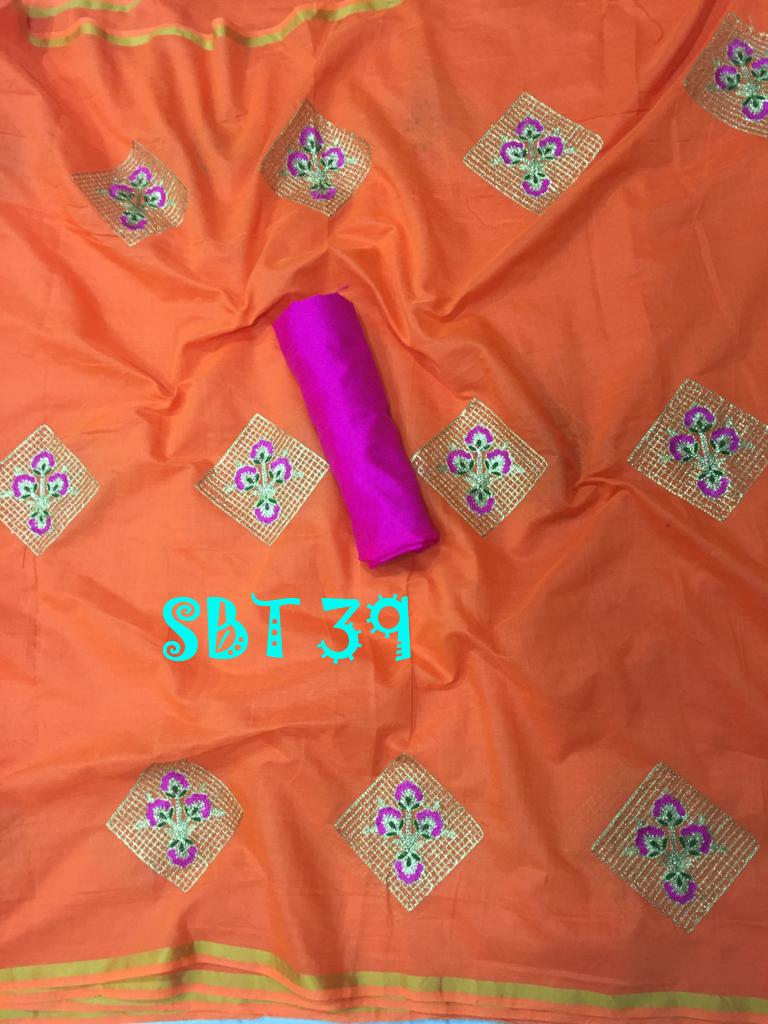 Heavy Embroidery Work Cotton Saree