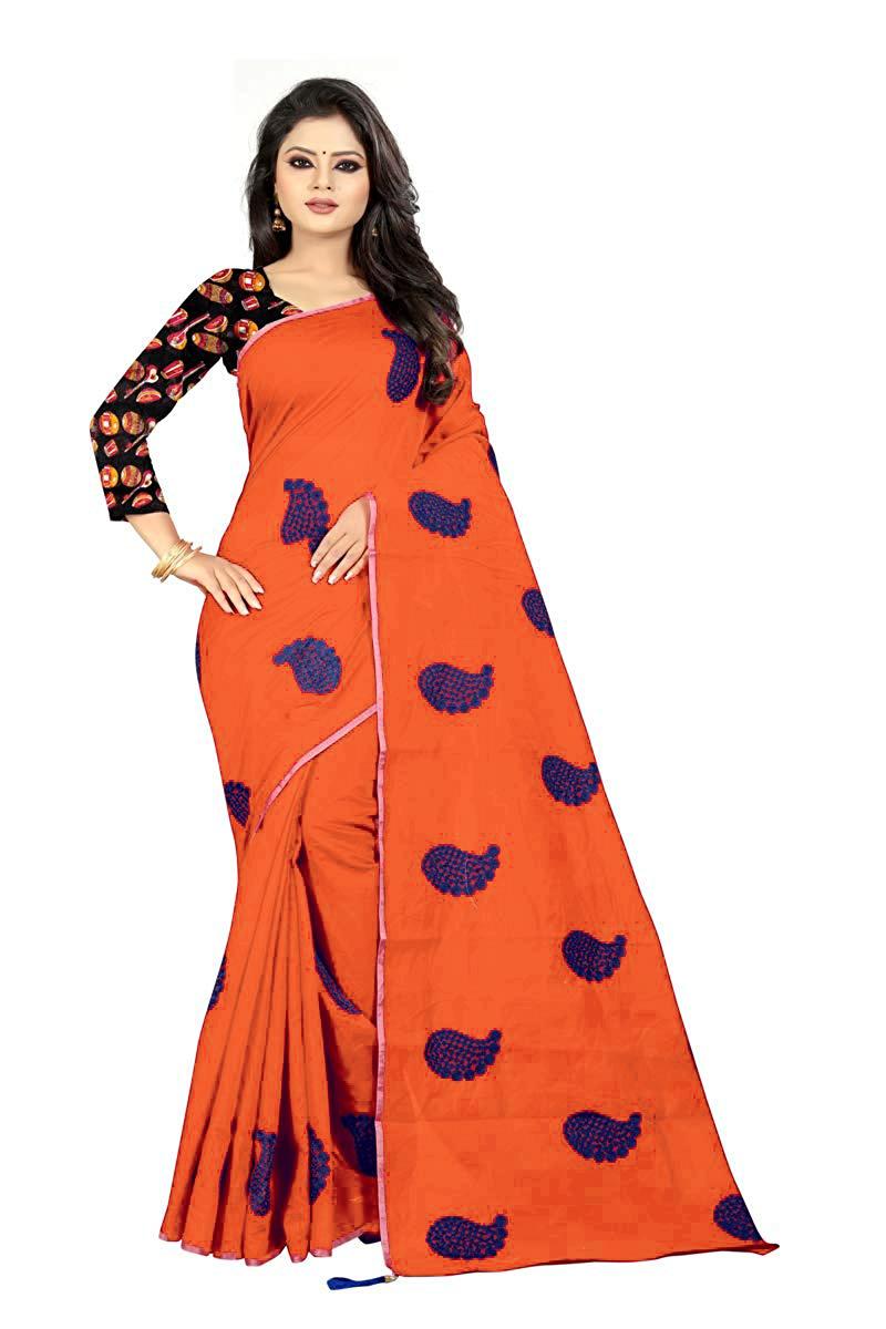 Embroidery Work Cotton Saree