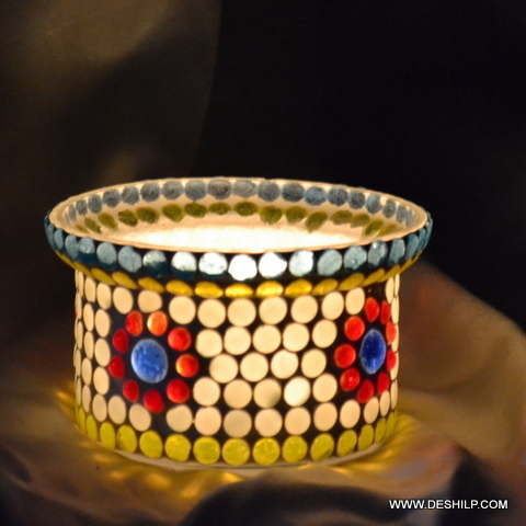 YELLOW COLOR MOSAIC GLASS CANDLE HOLDER