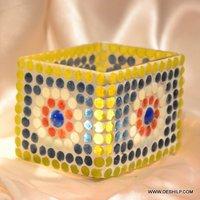 SMALL GLASS BEAUTIFUL MOSAIC CANDLE HOLDER