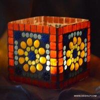 Beautiful Glass Candle Holder With Mosaic Finish