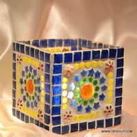 MULTI MOSAIC SQUIRE GLASS T LIGHT CANDLE