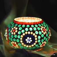 GREEN MOSAIC CANDLE HOLDER