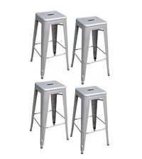 Stackable Metal Bar Stool in Silver (Set of 4)