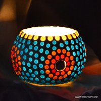 TWO COLOR MOSAIC GLASS CANDLE  HOLDER