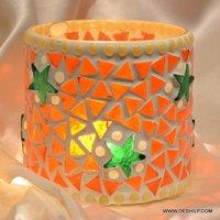 ORANGE MOSAIC GLASS CANDLE HOLDER