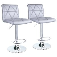 Hydraulic Square Back Diagonal Line Adjustable Bar Stools Set of 2 (Silver)