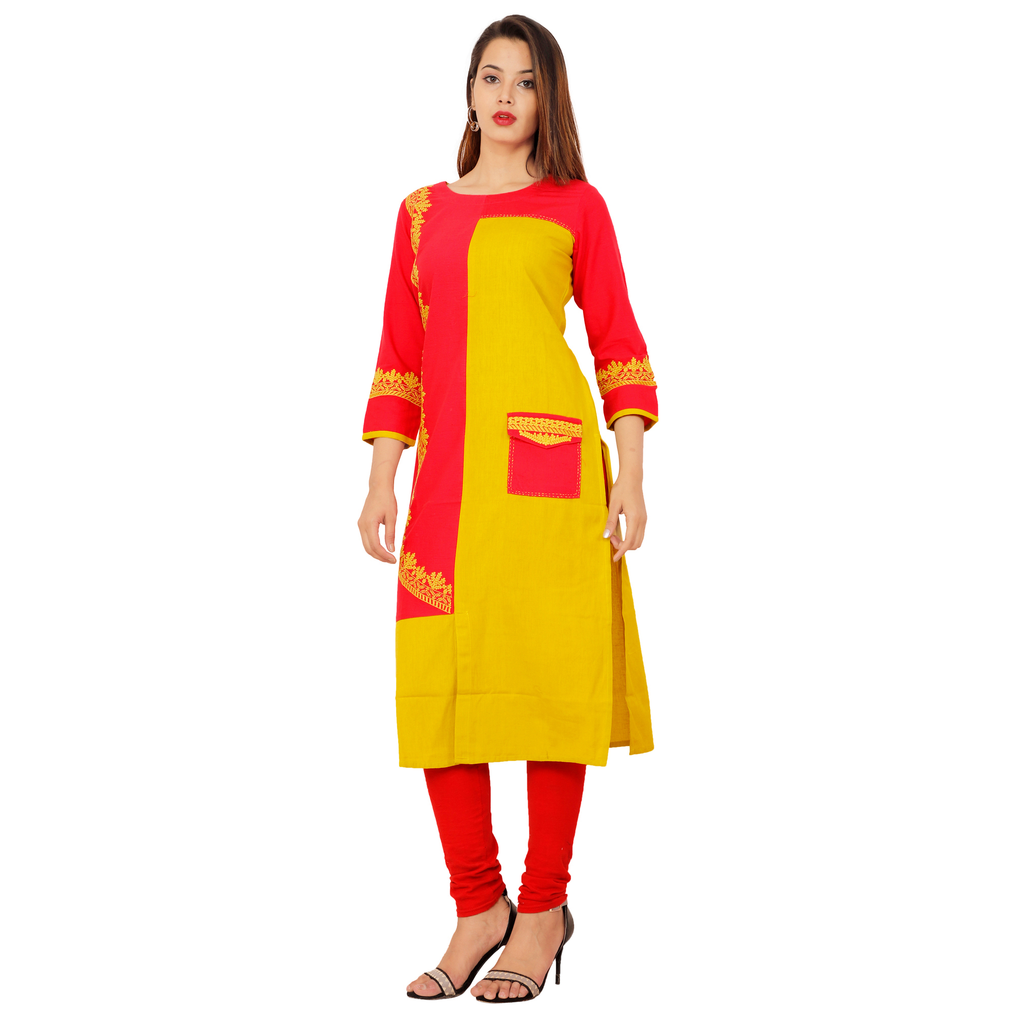 Lakbi Yellow Embroidery Straight Cotton Kurti