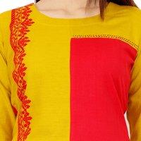 Lakbi Red Embroidery Straight Cotton Kurti