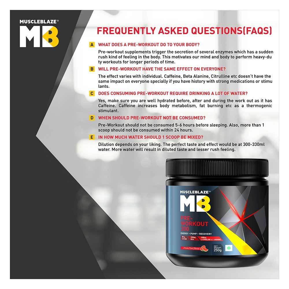 MuscleBlaze PRE Workout 300, 0.55 lb(0.25kg) Melon Twist