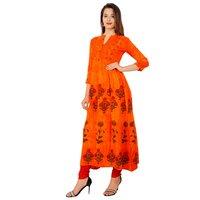 Lakbi Batik Print Orange Flared Kurti