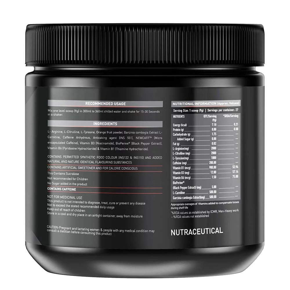 MuscleBlaze Pre Workout Ripped, 0.55 lb (0.25kg)Raspberry Lemonade