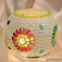 WHITE MOSAIC GLASS CANDLE HOLDER