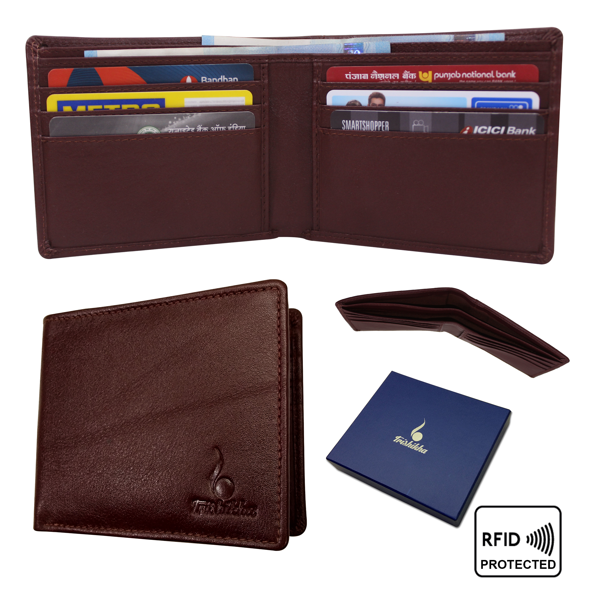 Genuine leather RFID Slim Bifold Wallet