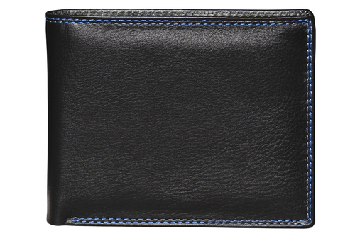 Black Stitched Leather Wallet For Men