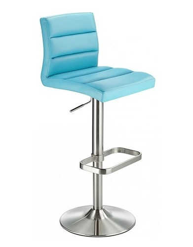 Brushed Steel Bar Stool with Faux Leather Padded Seat