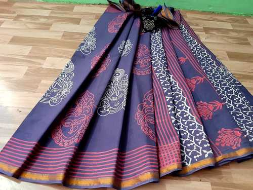 LADIES COTTON HAND PRINTED SAREE