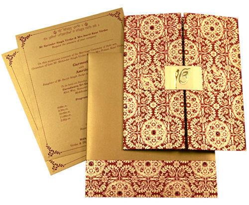 Golden Printed Wedding Cards