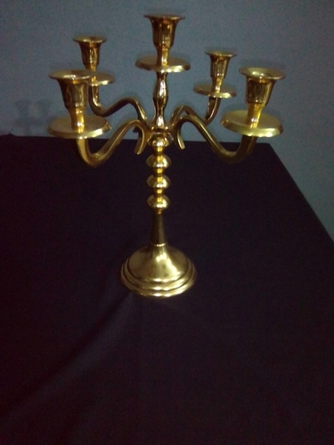 Alum.Candelabra 5 Branches Gold Finish