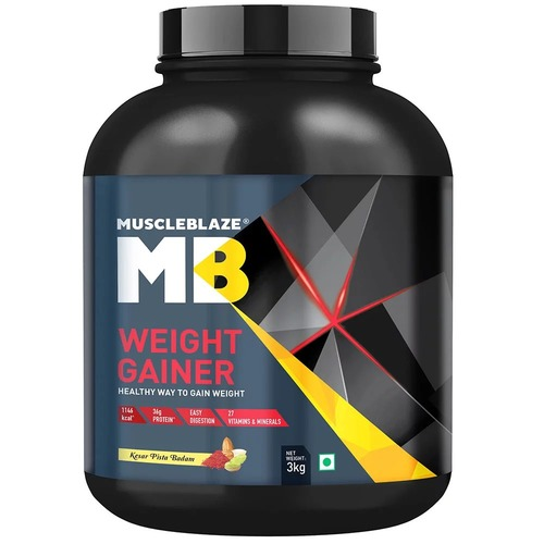 MuscleBlaze Weight Gainer with Added Digezyme, 6.6 lb(3kg) Kesar Pista Badam