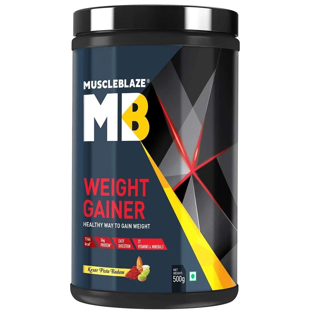 MuscleBlaze Weight Gainer with Added Digezyme, 1.1 lb(0.5kg) Kesar Pista Badam