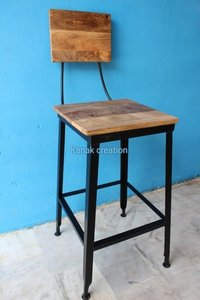 wooden seat top with four legs industrial stool