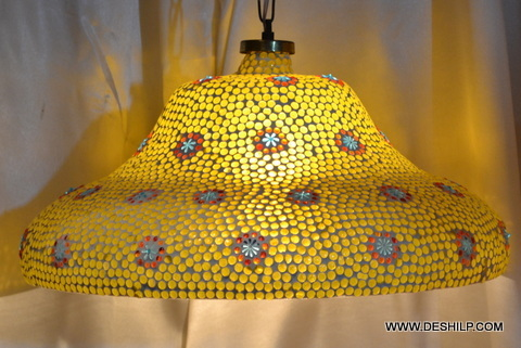 YELLOW COLOR GLASS WALL HANGING