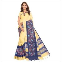 Plain Linen Saree With Embroidery Work