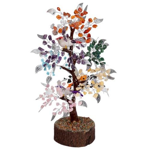 Natural Seven Chakra M-Seal  Silver Wire Tree With Bird 500 Dana