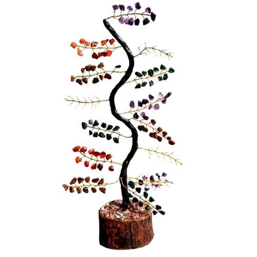 Natural Multistone M-Seal  Golden Wire Zig-Zag Tree