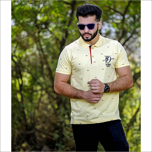 Mens Printed Collar Polo T-Shirt