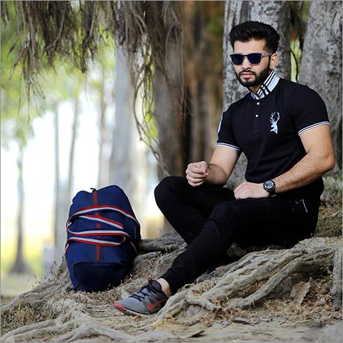 Mens Jacquard Polo T Shirt