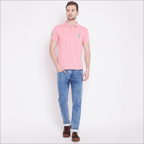 Mens Pink Color Polo T-Shirt