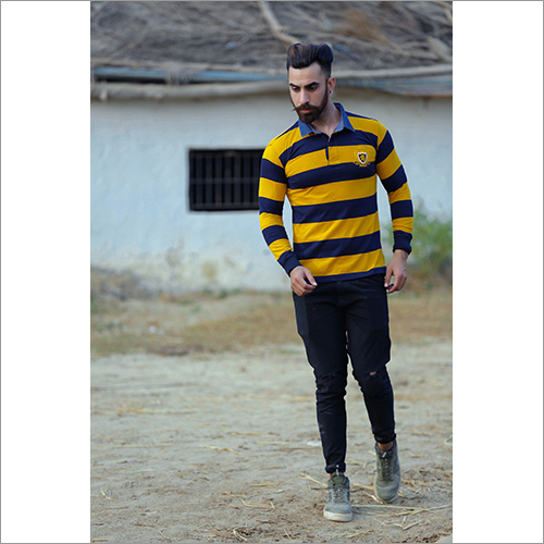 Mens Full Sleeve Striped Polo T-Shirt