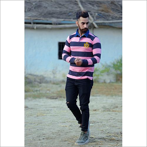 Mens Fancy Striped Polo T Shirt