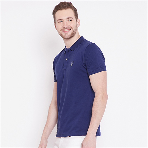 Mens Blue Color Polo T Shirt