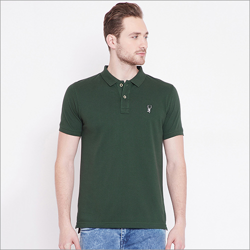 Mens Dark Green Color Polo T-Shirt